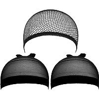 eBoot 3 Pack Wig Caps (Black Nylon Caps and Black Mesh)
