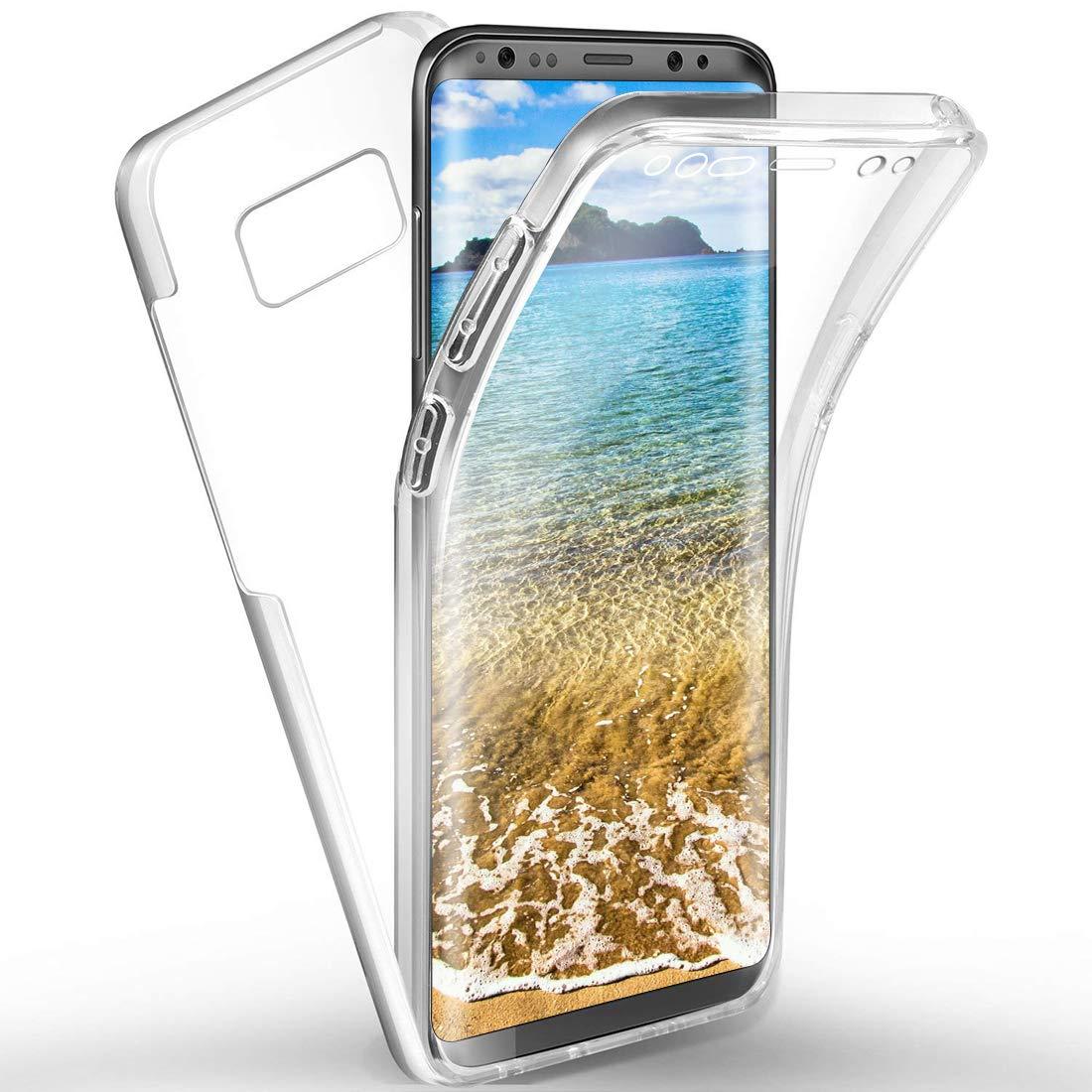 Parte Posteriore Rigida in policarbonato e Parte Anteriore in Morbido Silicone TPU Trasparente Protezione Completa a 360/° Sottile e Ultra Sottile Moevn Custodia per Samsung Galaxy S8