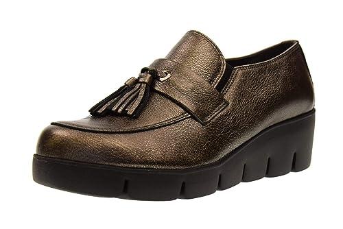 THE FLEXX Zapatos de Mujer Mocasines con cuña B254 14 TRASSEL Talla 37 Gunmetal: Amazon.es: Zapatos y complementos