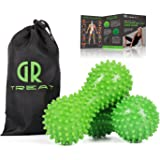 GR Foot Massage Ball Roller (Set of 2) - Peanut Spiky Massage Ball - Reflexology Muscle Trigger Point Therapy - Perfect for Plantar Fasciitis, Deep Tissue and Muscle Relief(Green-Harder)