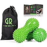 GR Boule de Massage des Pieds ( Lot de 2 ) - Massage Ball pour Soulager la Tension, Relaxe les Muscles, Trigger Point - Dos Mains Pieds Bras Jambes - Accessoire Anti-stress (Vert)