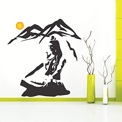 0900fda4c Buy Creatick Studio Beautiful God Shiva on Kailash PVC Wall Sticker 75 cm X  78 cm -Multicolor Online at Low Prices in India - Amazon.in
