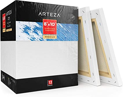 Primed Canvases for Artist Hobby Painters /& Beginner Oil Paint /& Wet Art Media Arteza 11x14 Professional Stretched White Blank Canvas Bulk Pack of 8 Acrylic Pouring 100/% Cotton for Painting