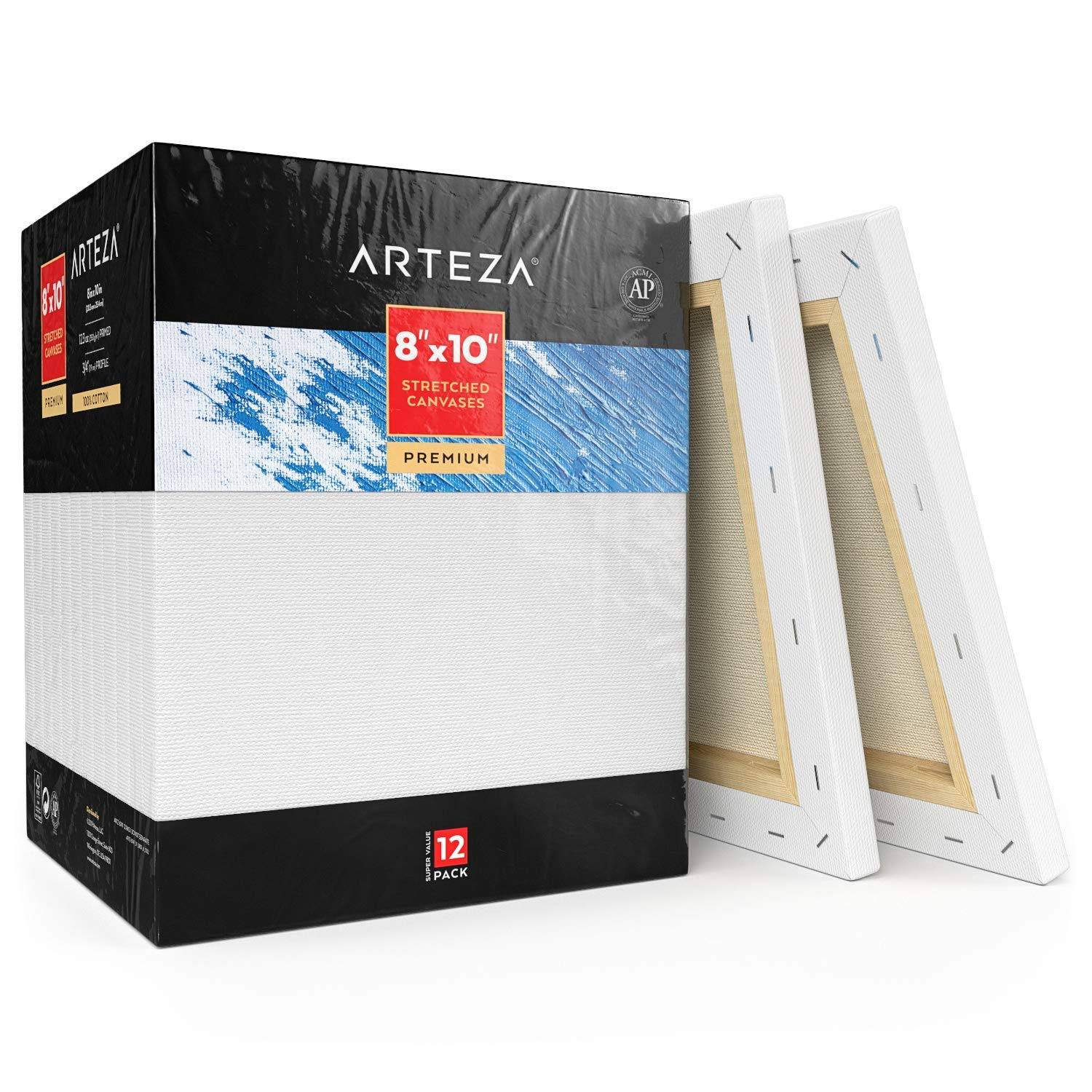 Arteza 8x10'' Professional Stretched White Blank Canvas, Bulk Pack of 12, Primed, 100% Cotton for Painting, Acrylic Pouring, Oil Paint & Wet Art Media, Canvases for Artist, Hobby Painters & Beginner by ARTEZA