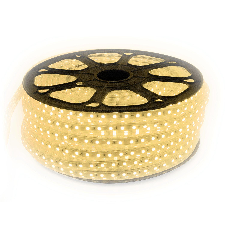 15m LED Strip Lichtband flexband Kaltwei/ß 230V mit 60x 5050 SMD pro Meter wei/ßer Hintergrund 230 Volt
