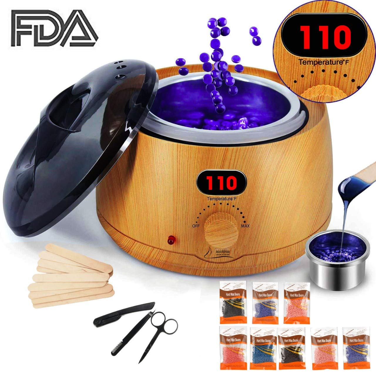 Waxing kit wax warmer hard wax beans digital hair removing set – 8 packs wax beans + Eyebrow razor 30Pcs complete set 2 years warranty SAK Trades