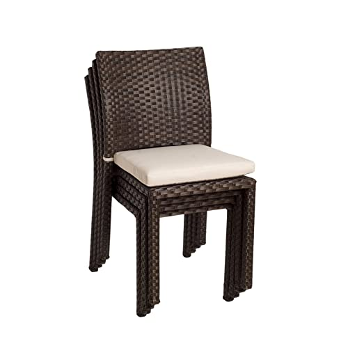 Atlantic Liberty Stackable Chairs Set of 4 Perfect for Indoors outdoors Best Dark Brown Wicker w white cushions included.