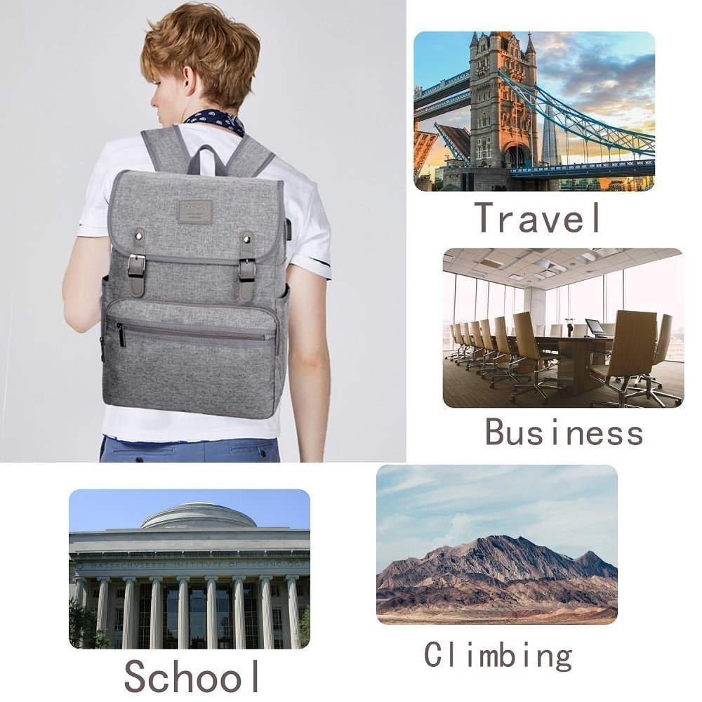 Laptop Backpack Men Women Business Travel Computer Backpack School College Bookbag Stylish Water Resistant Vintage Backpack with USB Port Fashion GREY Fits 15.6 Inch Laptop and Notebook by HFSX (Image #5)