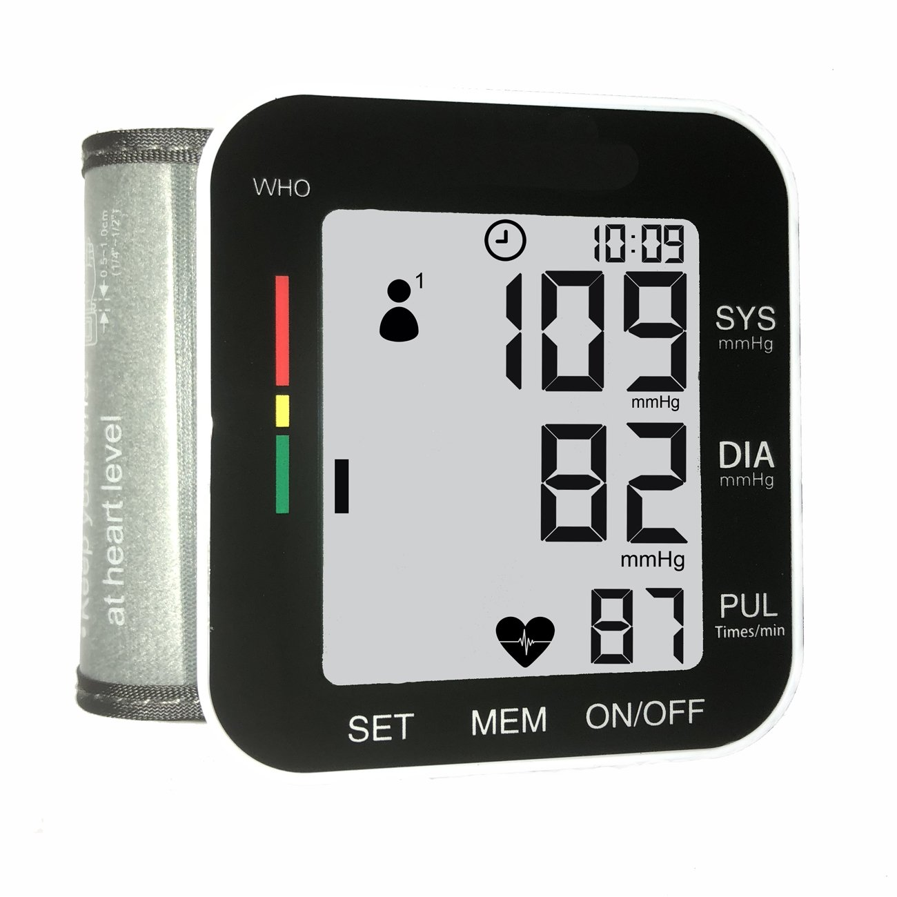 Blood Pressure Monitor Wrist Type Cuff Portable Digital Medical BP Machine Meter Automatic Heartbeat Detection,Pulse and Heart Rate Monitoring with LCD Display,FDA Approved for Home Use