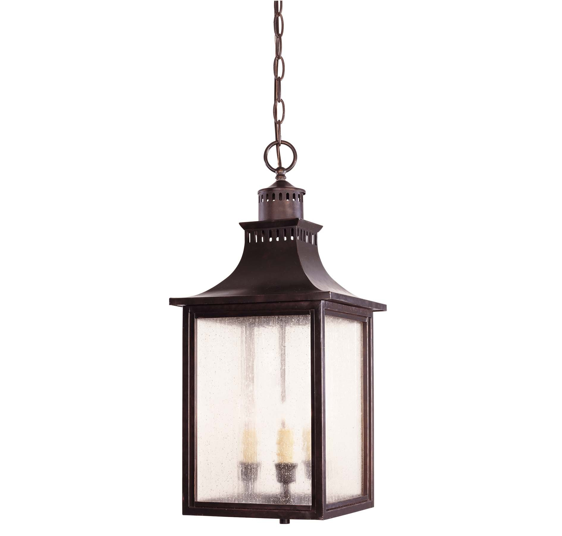 Savoy House Lighting 5-256-13 Monte Grande Collection 3-Light Outdoor Hanging Entry Lantern, English Bronze Finish with Pale Cream Seeded Glass