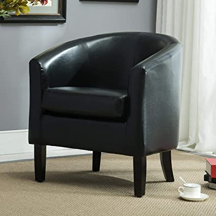 Amazon.com: Hebel Club Chair Tub Faux Leather Armchair Seat Accent ...