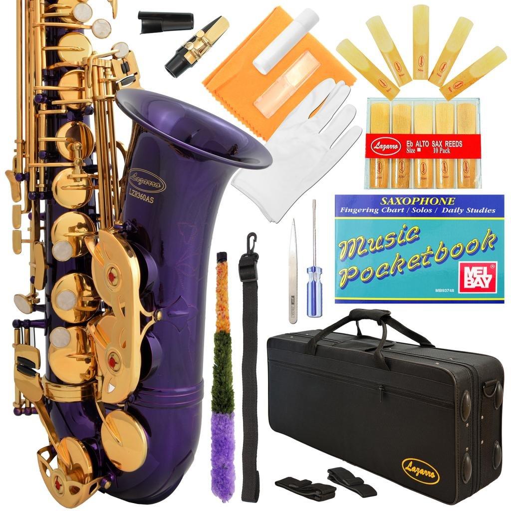 Saxofón alto púrpura y llaves doradas Lazarro con funda xmp