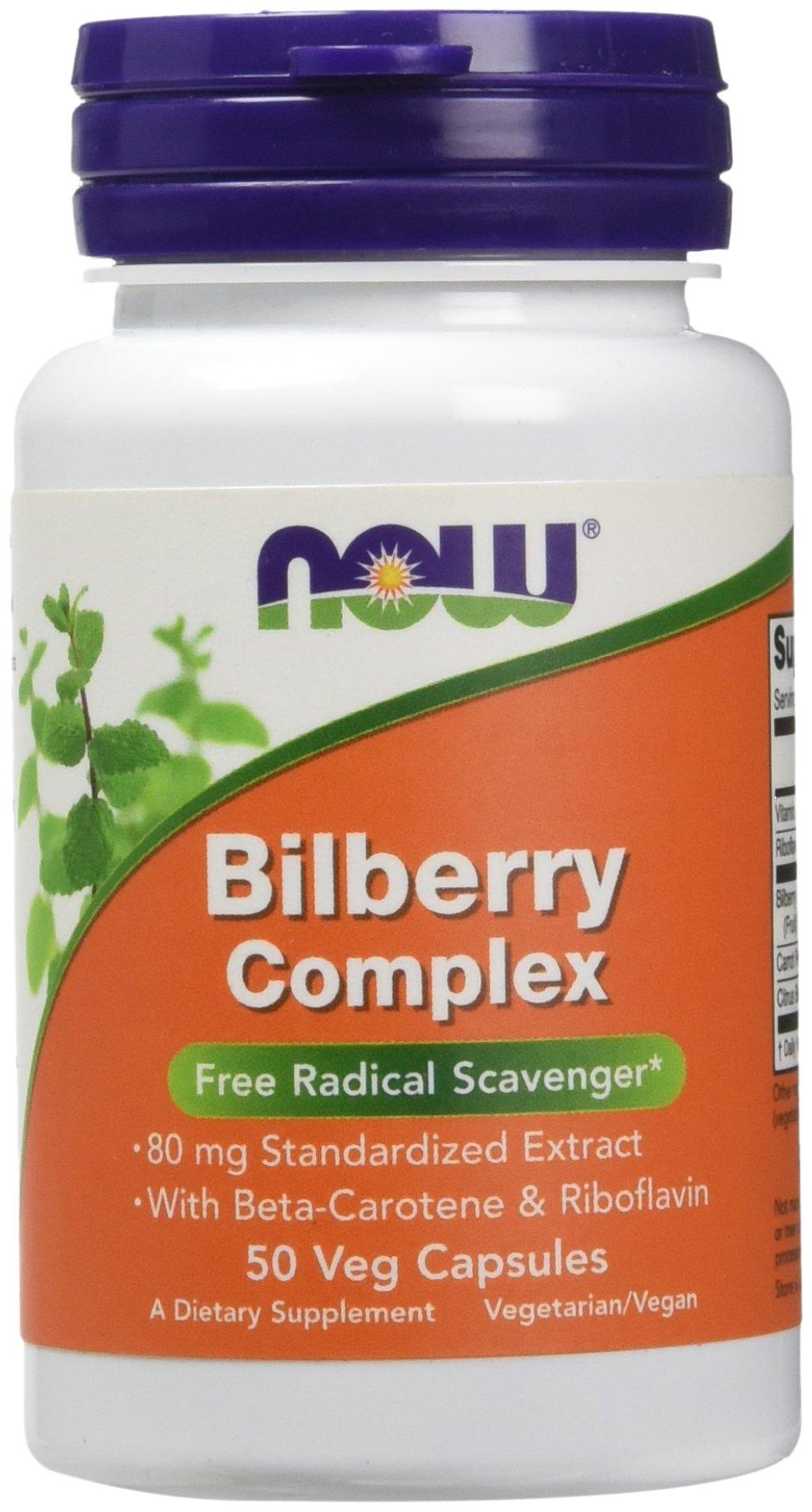 NOW Supplements, Bilberry Complex 80 mg, 50 Veg