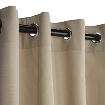 sunbrella outdoor curtain with nickel grommets antique beige 50x108