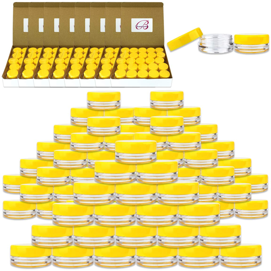 Beauticom 3 Gram / 3 ML (Quantity: 1000 Pieces) Round Acrylic Small Sample Jar Containers with Yellow Lids for Makeup Beauty Cosmetics Lotion Salves Scrubs Ointments