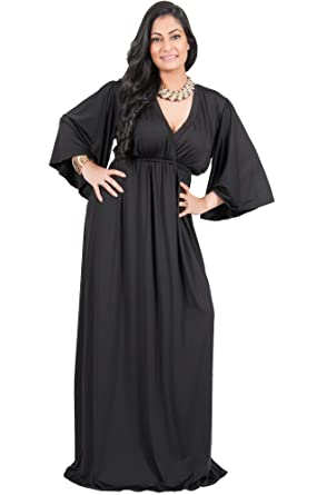 9f2c371792d79 Adelyn and Vivian Plus Size Women s Long 3 4 Kimono Sleeve Sexy Flowy Floor  Length