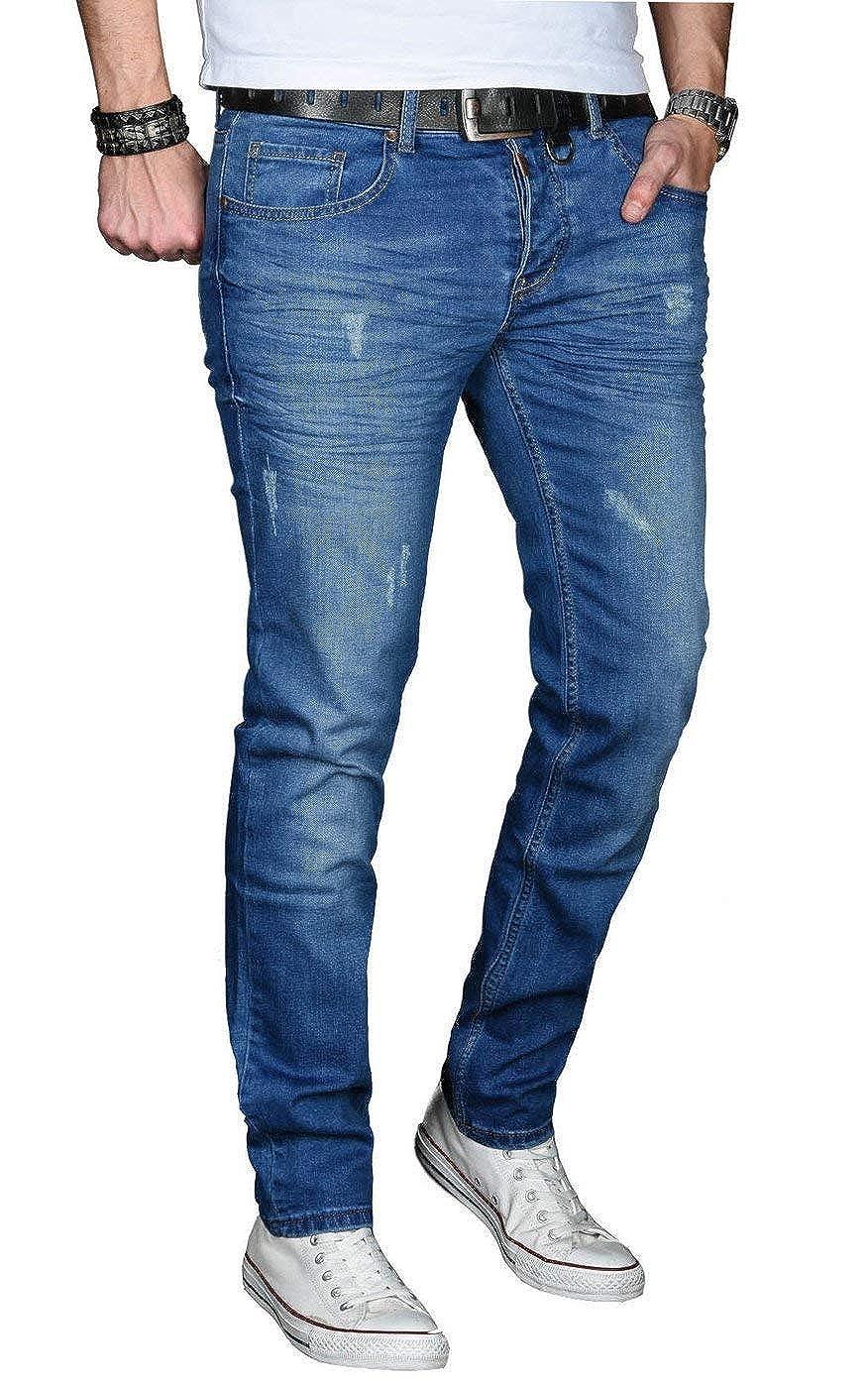 590860660db3a3 A. Salvarini Designer Herren Jeans Hose Regular Slim Fit Jeanshose Mode  Stretch  Amazon.de  Bekleidung