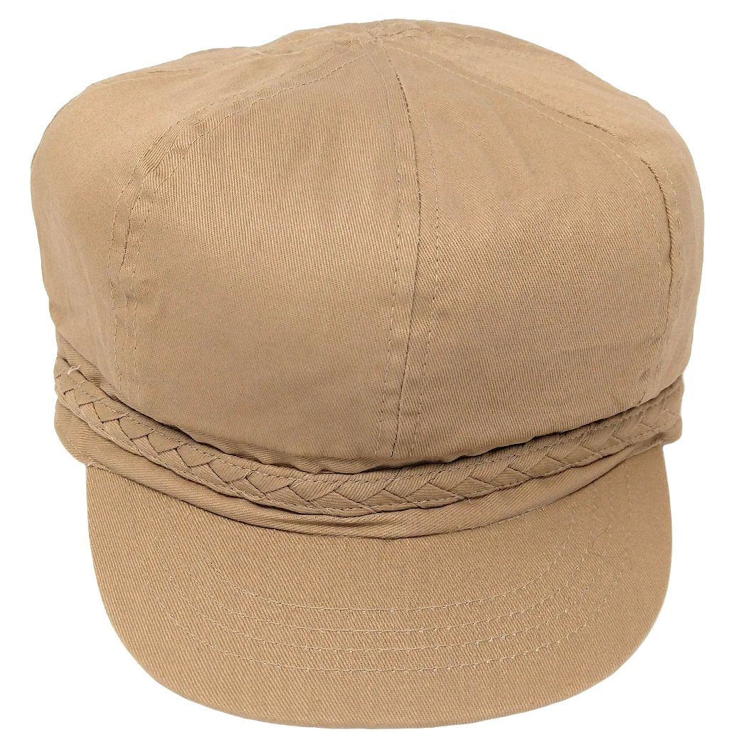 FLH Khaki Lightweight Ivy Newsboy Cabbie Hat w/Braided Trim, Irish Fiddler Gatsby Cap (Light Brown)