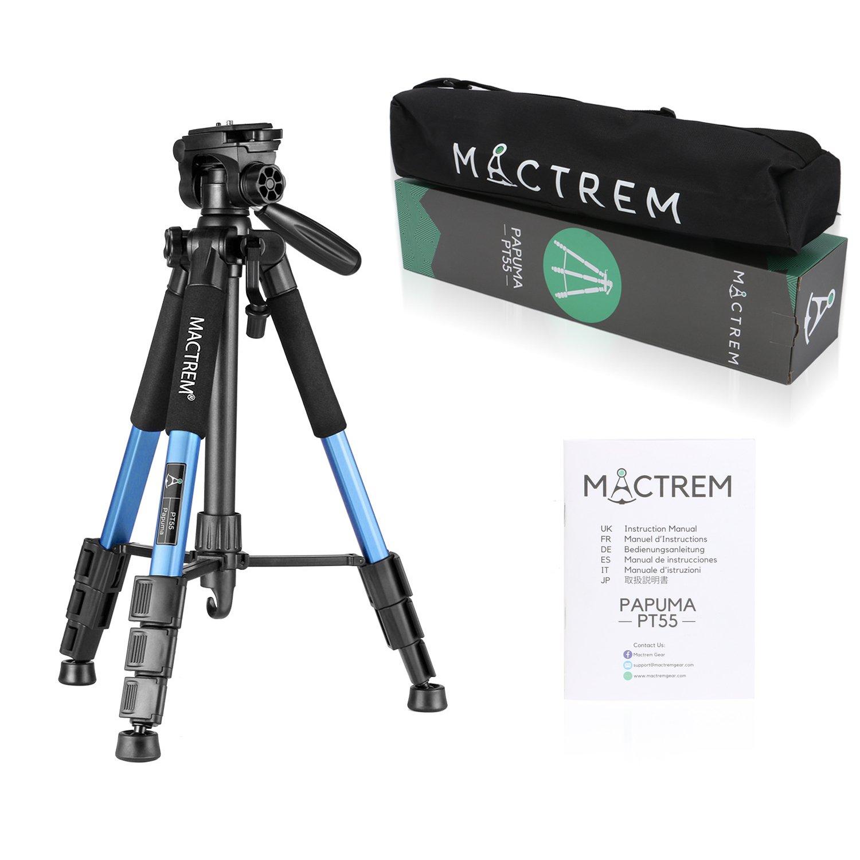 Dreibein-Kamera Stativ aus Aluminium MACTREM PT55 55-Zoll mit Schnellwechselplatte und Tragetasche für Spiegelreflex- und Videokameras von Nikon, Sony uvm(Blue)