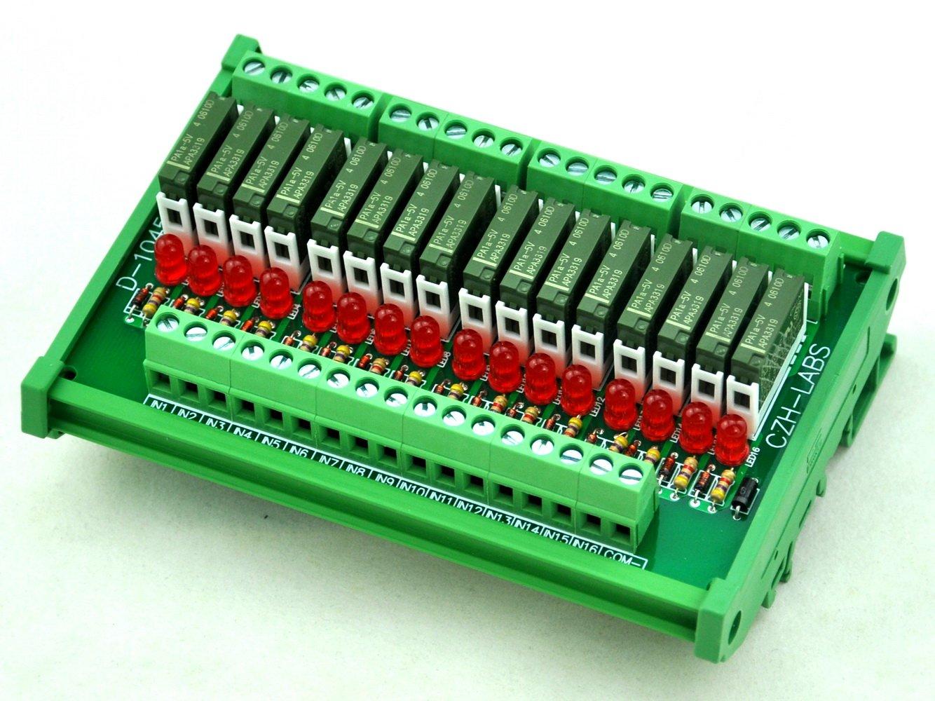 ELECTRONICS-SALON Slim DIN Rail Mount DC5V Source/PNP 16 SPST-NO 5A Power Relay Module, PA1a-5V