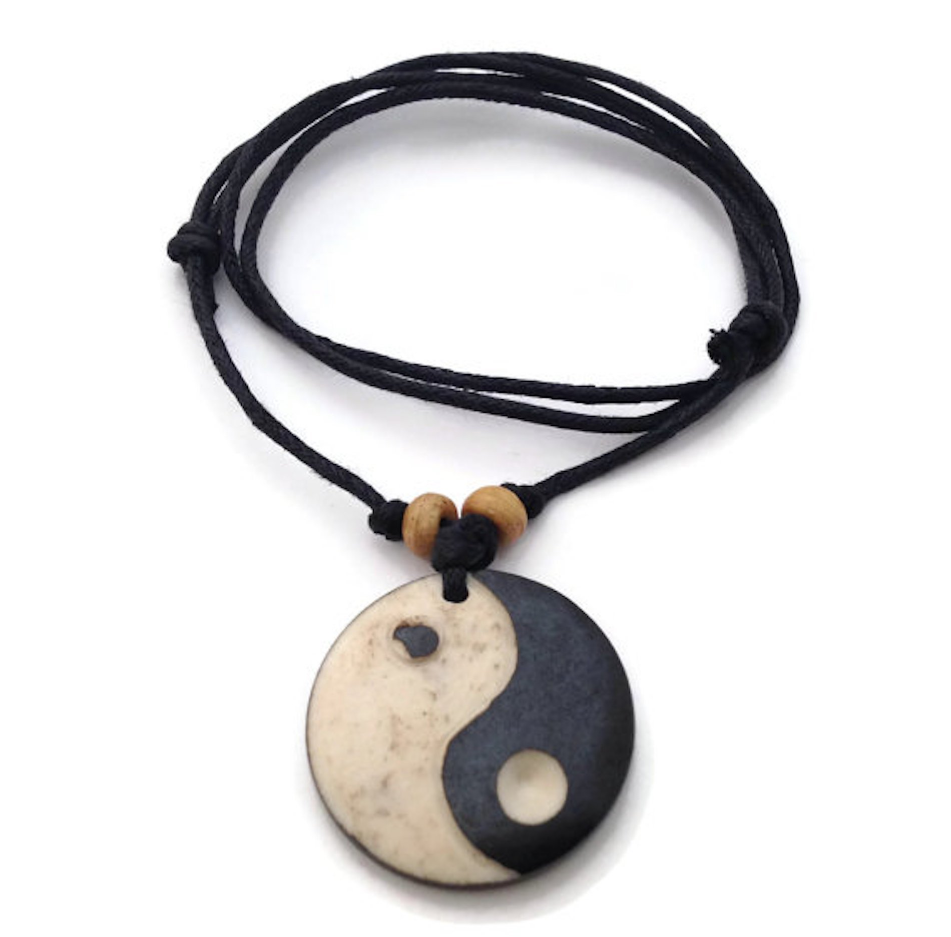 Yin Yang Carved Bone Adjustable Necklace