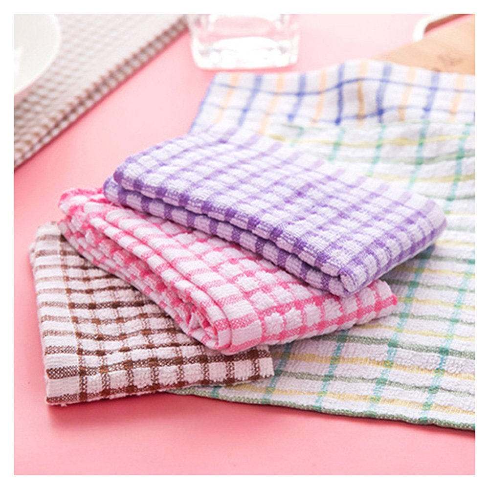 Washcloths,FTXJ Absorbent Plaid Wash Cloth Car Kitchen Cleaning Microfiber Towels Cloths