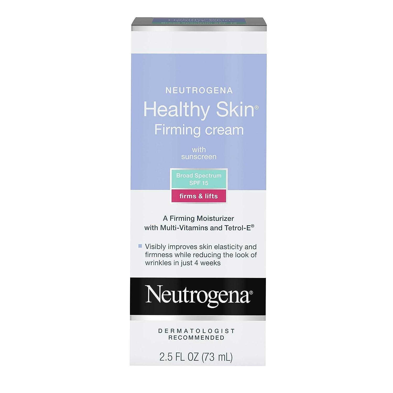 Neutrogena Healthy Skin Glycerin & Green Tea Firming Face Cream Moisturizer & Neck Cream with SPF 15 Sunscreen - Anti Wrinkle Cream, Face Moisturizer for Dry Skin & Neck Firming Cream, 2.5 fl. oz: Beauty