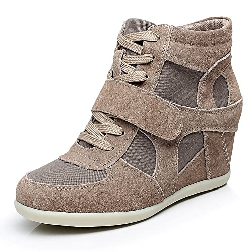 Jamron Mujer Ligero Encaje Ascensor Zapatos Tacón Alto de Cuña Moda Zapatillas Caqui 8522 EU37: Amazon.es: Zapatos y complementos