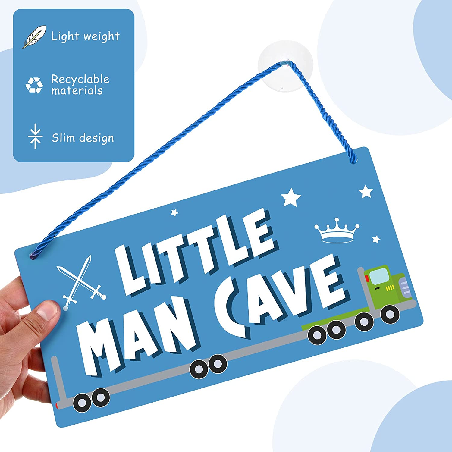 Little Man Cave Sign Toddler Boy Bedroom Decor 12 x 6 Inches PVC Plastic Decoration Hanging Sign Waterproof Nursery Wall Decor