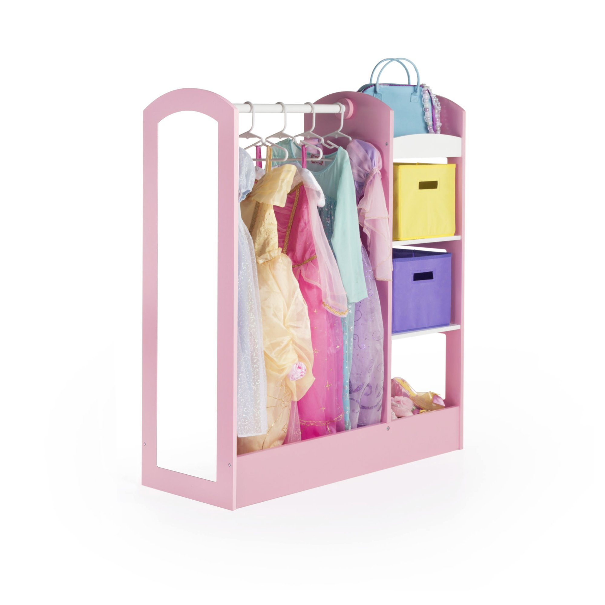 Guidecraft See and Store Dress-up Center – Pastel: Toddlers' Clothing Rack Wardrobe with Mirror & Shelves, Cubby Armoire with Bottom Tray - Kids Bedroom Furniture
