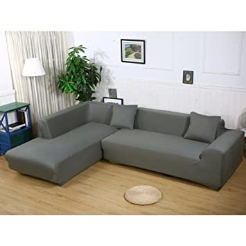 Getmorebeauty L Shape Sofa Covers Sectional Sofa Cover 2 Pcs Stretch Sofa  Slipcovers For L