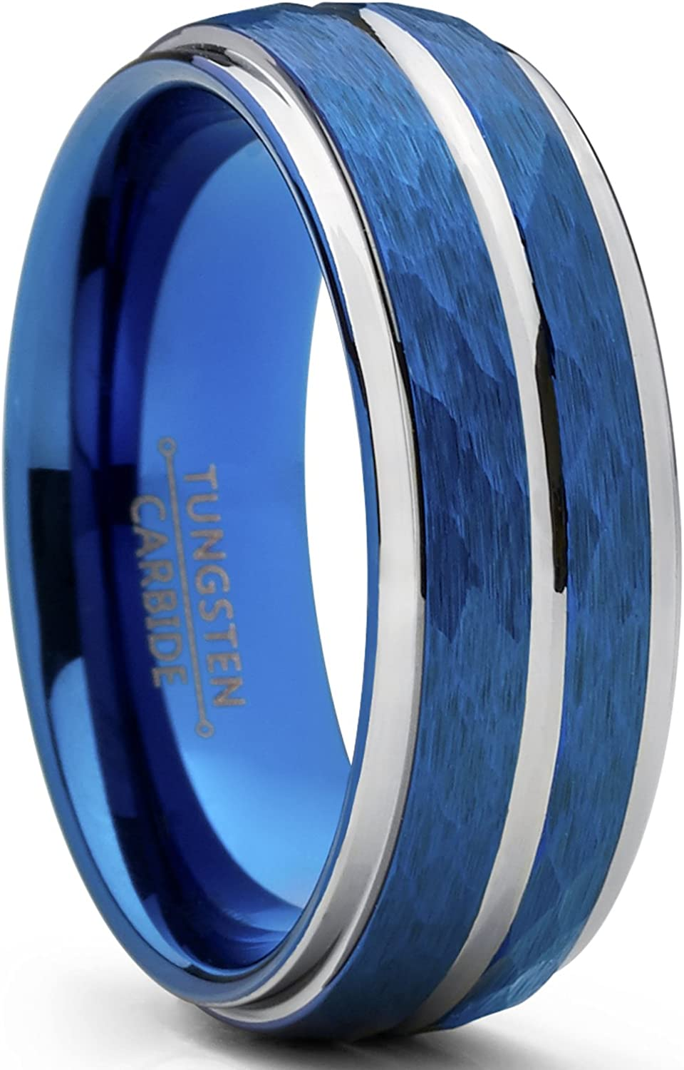 Metal Masters Co. Men's Two Tone Blue Hammered Brushed Tungsten Wedding Ring, 8mm Comfort Fit Band Sizes 7 to 15