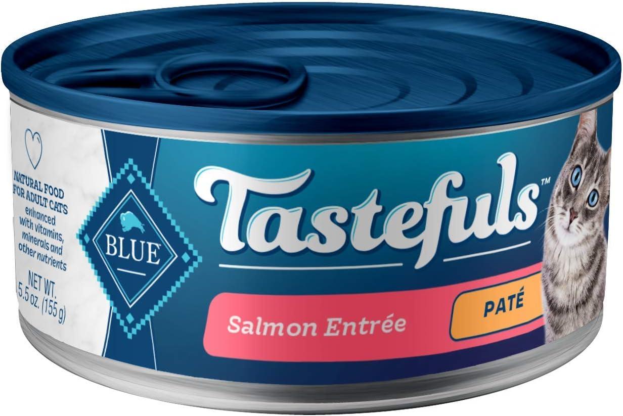 Blue Buffalo Tastefuls Natural Pate Wet Cat Food, Salmon Entrée 5.5-oz cans (Pack of 24)