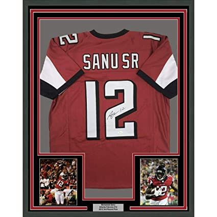 sale retailer 81367 852f0 Signed Mohamed Sanu Jersey - FRAMED SR 33x42 Red COA - JSA ...