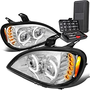 Dual LED DRL C-Bar Projector Chrome Headlight Lamps+Tool Kit Replacement for Freightliner Columbia 04-07