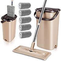 MASTERTOP Flat Mop and Bucket with Wringer Set, Microfiber Mop Floor Cleaning System, Wet Dry Mop, Stainless Steel…
