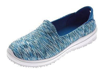 19c571cedbb4 Damen Ballerinas Streifenmuster Blau Slipper flach Sneaker Halb Schuhe  fallen größer aus Gr. 37