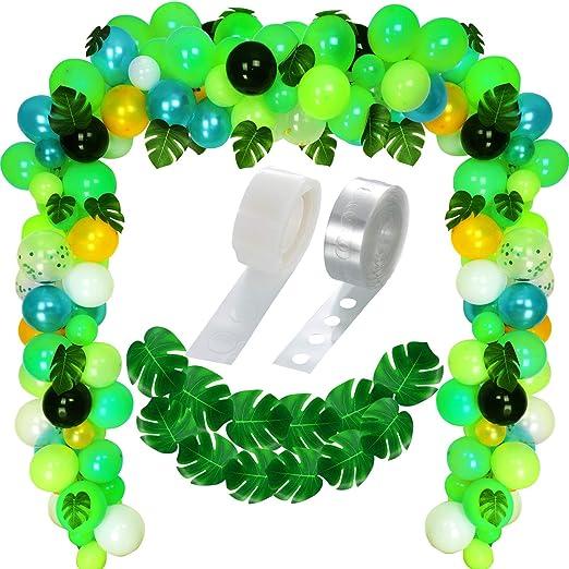 120 Piezas Globos de Fiesta de Tema de Selva Globos Verdes de Decoración Globos de Confeti y 20 Piezas Hojas de Palma Tropical con Conjunto de Tira de ...