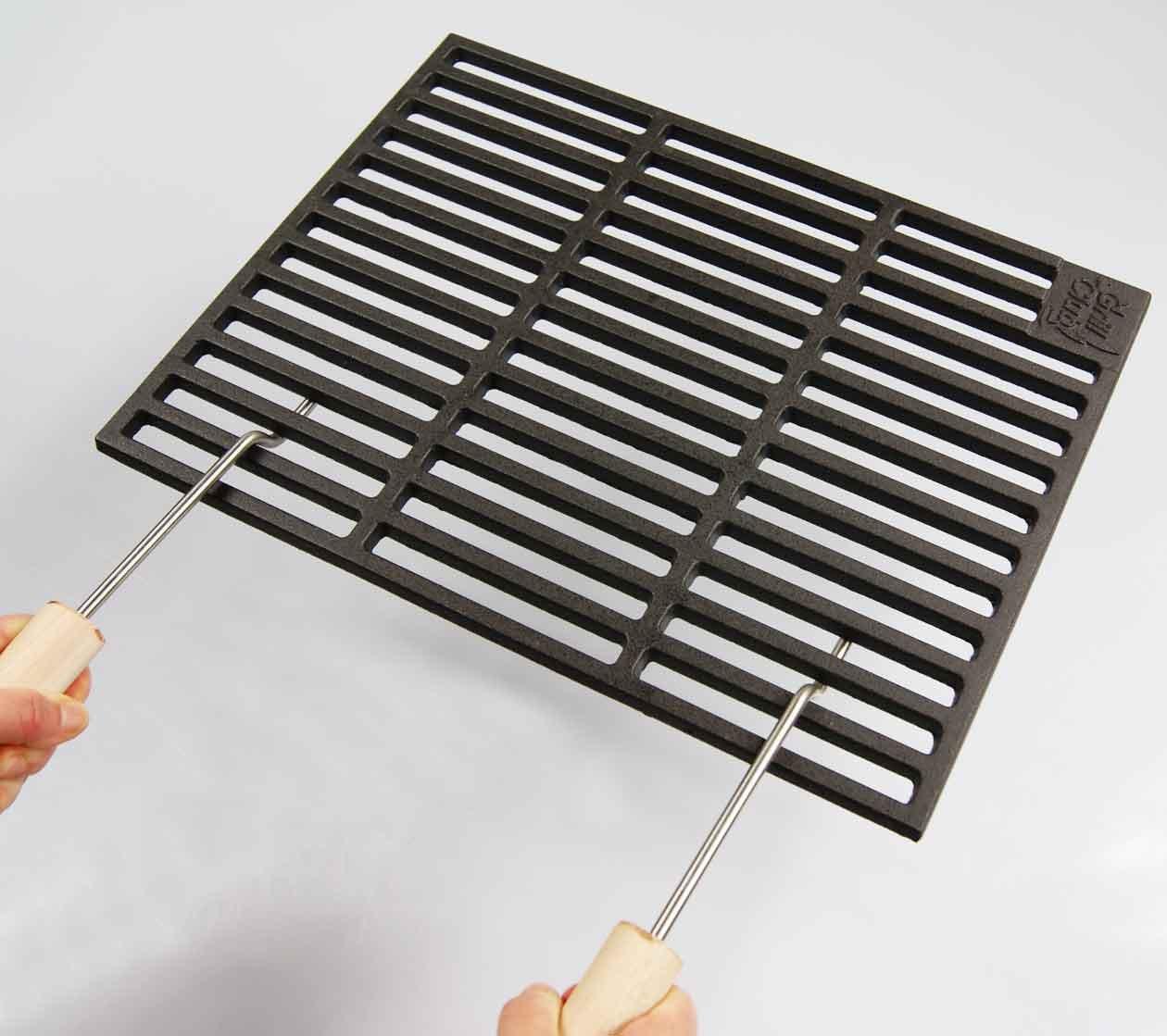Gusseisen Grillrost 53 x 38 cm Grillclub + 2 abnehmbare Handgriffe für Wellfire Quatro Guss, Gasgrill, Rost, Grill Buschbeck