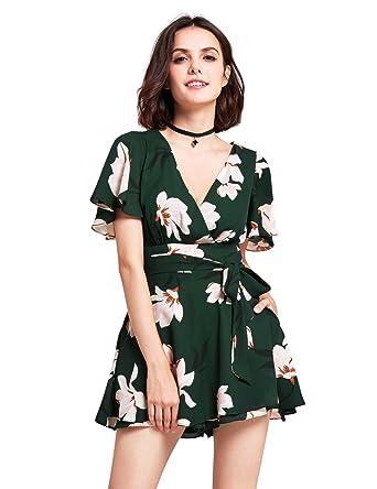 df4239c0db4 Amazon.com  Alisa Pan Short Sleeve Floral Print Casual Romper for ...