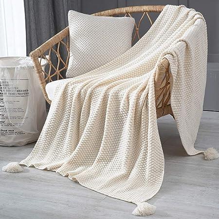Punto Sofa Cama Manta, 100% Algodón Japonés Colcha Manta Super Suave Acogedor Cálida Mantas para Sofá Silla Cama-Beige 110x150cm(43x59inch): Amazon.es: Hogar
