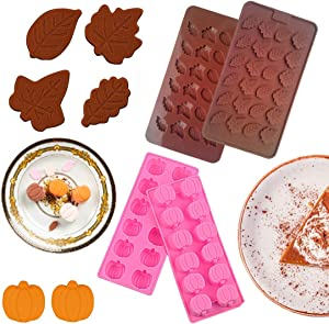 4pcs Silicone Chocolate Halloween Pumpkin Candy Molds Silicone Baking Molds Thanksgiving Leaf Shaped Mold for Making Halloween Candy, Chocolates, Muffins, Soap, Cake, Candle