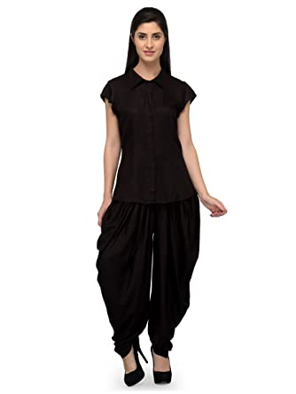 PATRORNA Women s Top and Dhoti Pant Set Dresses in Midnight Black (Size S 7d28b182d9