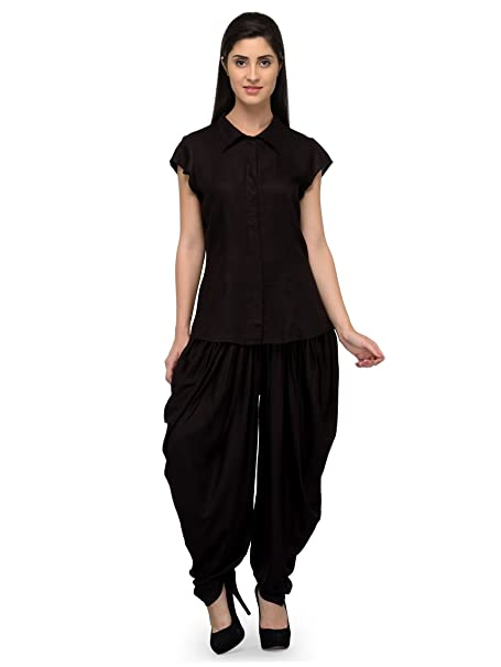 2106d73726 Patrorna Blended Women s Shirt Top and Dhoti Set Night Suit in Black (Size S