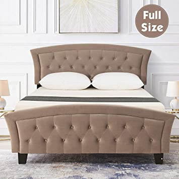 Amazon Com Full Velvet Upholstered Platform Metal Bed Frame