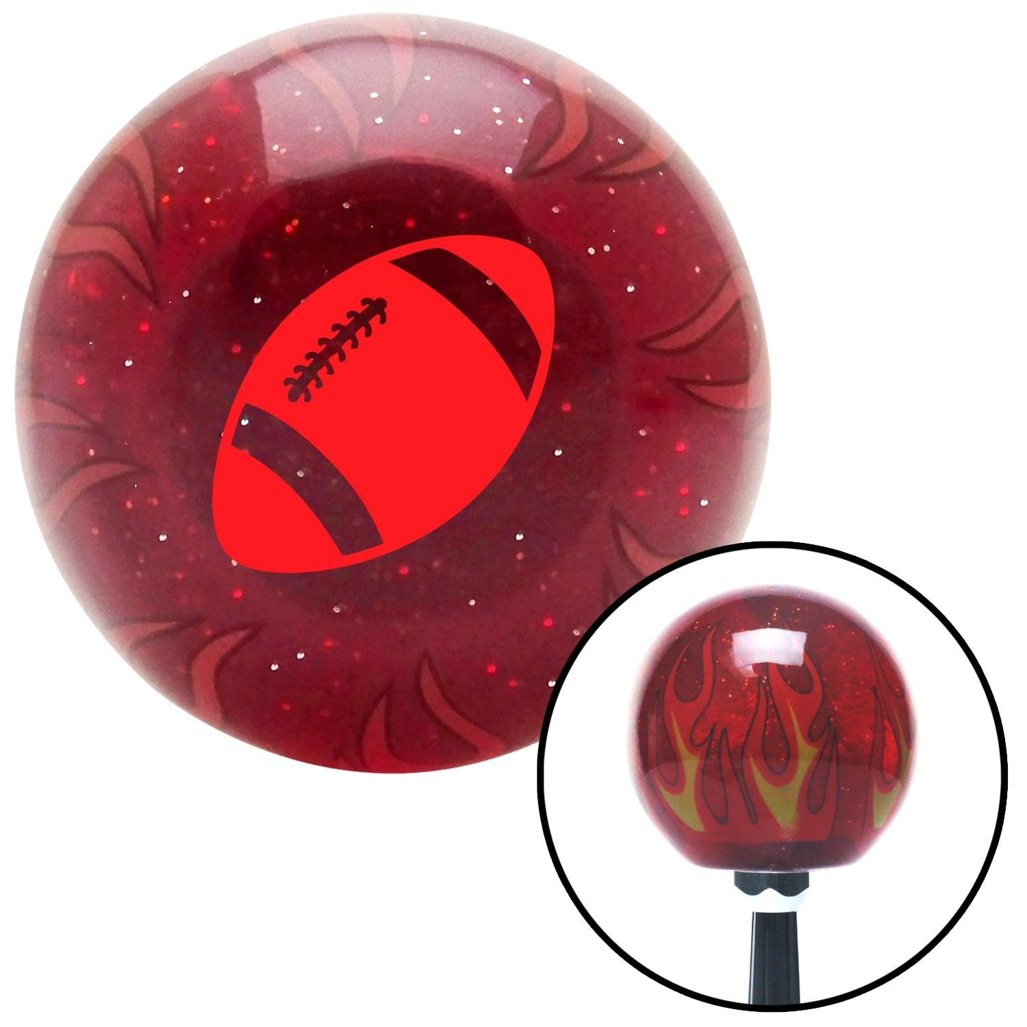 American Shifter 239516 Red Flame Metal Flake Shift Knob with M16 x 1.5 Insert Red Football