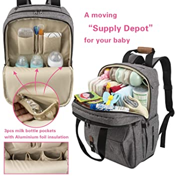 Amazon.com   TEBEL Baby Diaper Bag Backpack Multi-functional with Stroller  Strap 7ad75192b4fad