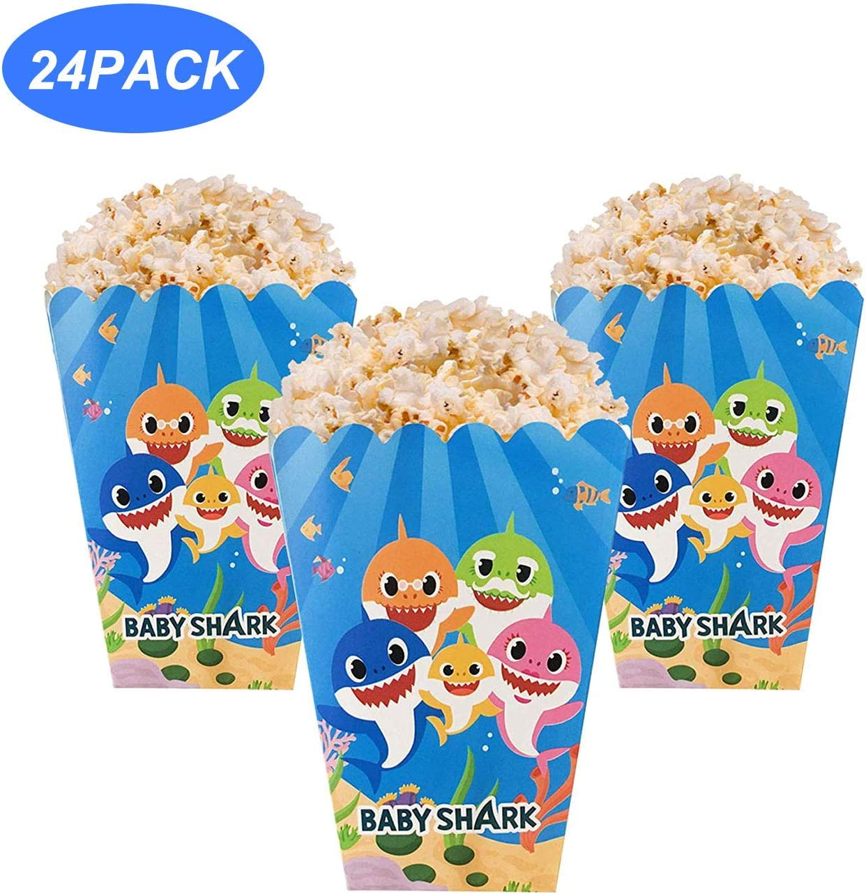 24 PCS Baby Cute Shark Popcorn Snack Boxes Party Supplies Mini Popcorn Party Favor Containers for Kids Baby Shower Birthday Parties