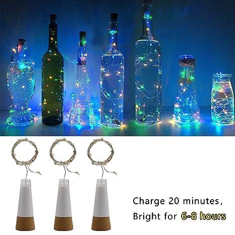 LED Botella Luces Corcho, Multicolor Cambio de color, Alimentado por USB Recargable, 1.5M 15 LED Alambre de cobre Cuerda Ligero para la habitación, Boda, ...