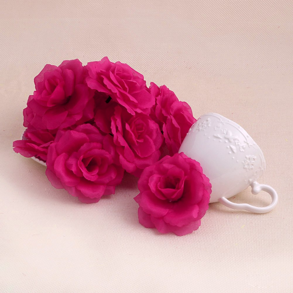 Arich 20pcs Roses Artificial Silk Flower Heads DIY Small Bud Party Wedding Home Decor (Deep Purple)